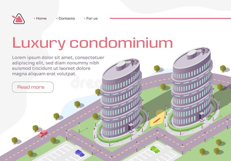 Luxury Condominium Horizontal Banner, Real Estate. Luxury Condominium Horizontal Banner, Buildings, Real Estate Residential Complex, Multi-Storey House royalty free illustration