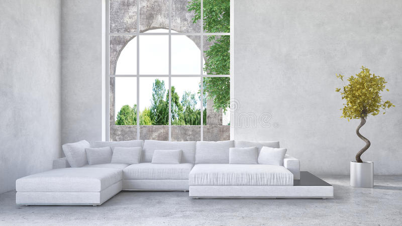 Luxury condominium living room interior. With an upholstered white suite in front of a large arched window overlooking a arden or greenery and mottled grey vector illustration