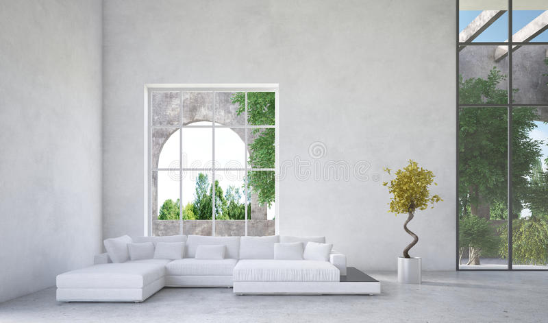 Luxury condominium living room interior. With an upholstered white suite in front of a large arched window overlooking a arden or greenery and mottled grey stock illustration
