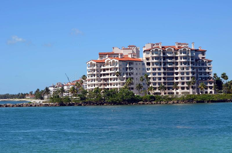Exteriors of luxury island condominium residences off Miami Beach,Florida royalty free stock photos