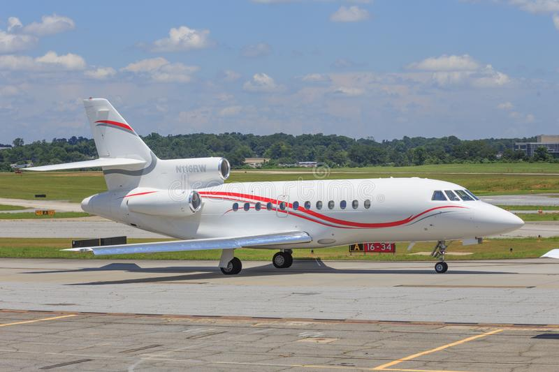 Luxury Corporate Jet. A corporate jet ready to take off at Peachtree-Dekalb AIrport in the metro Atlanta area royalty free stock photos