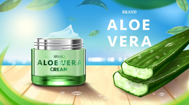 Luxury cosmetic Bottle package skin care cream, Beauty cosmetic product poster, with Aloe vera and wooden floor on beach backgroun stock illustration