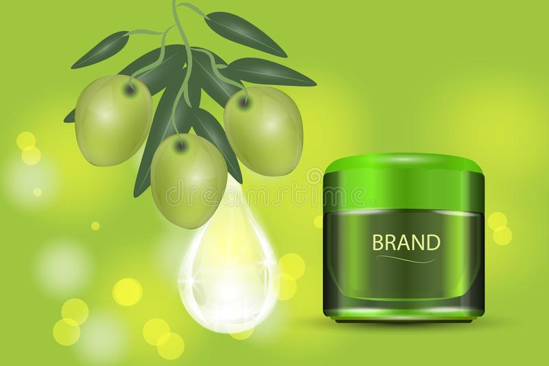 Luxury cosmetic cream jar on bokeh background with green olives and Collagen serum drop. Vector Illustration stock illustration