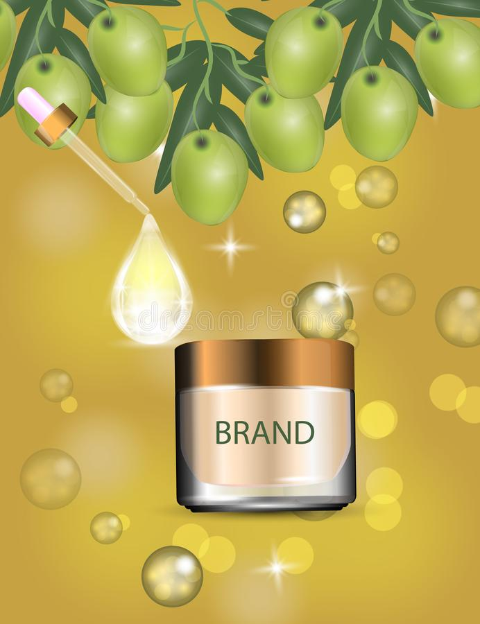 Luxury cosmetic cream jar on bokeh background with green olives and Collagen serum drop. Vector Illustration royalty free illustration