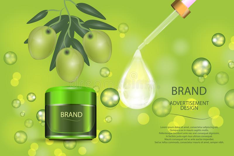 Luxury cosmetic cream jar on bokeh background with green olives and Collagen serum drop. Vector Illustration vector illustration