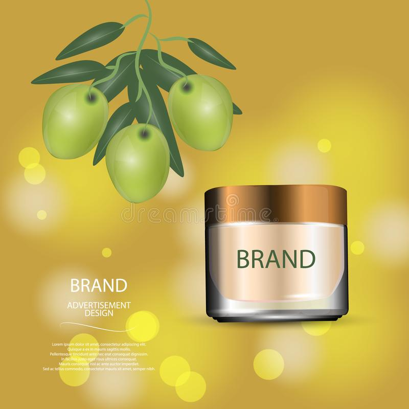 Luxury cosmetic cream jar on bokeh background with green olives. Vector Illustration royalty free illustration
