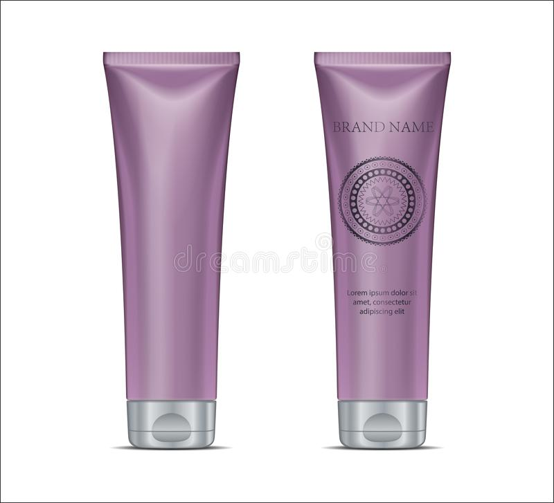 Luxury cosmetic design advertising template. Purple tube set, si. Lver cup and modern circle graphic. 3D Realistic skin care cream bottle for magazine or poster stock illustration