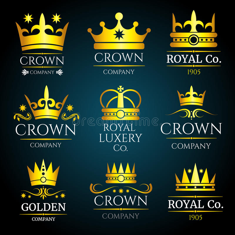 Luxury crown vector vintage monogram, logos set for boutique and jewellery vector illustration