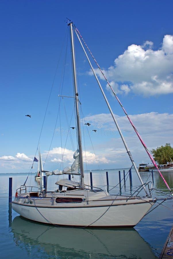Luxury cruise boat on lake stock photo