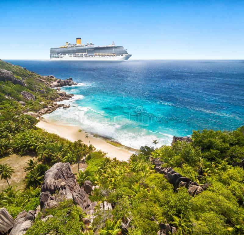 Luxury Cruise Boat With Tropical Seychelles Island Stock ...