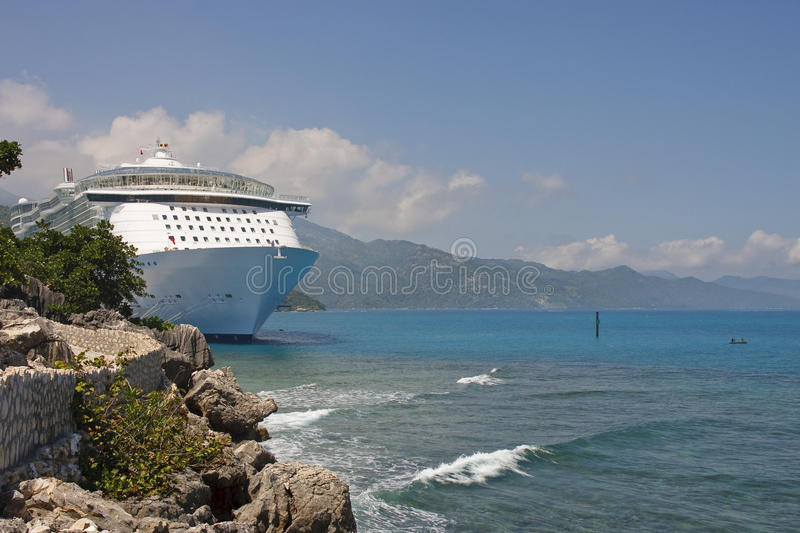 Download Luxury Cruise Ship Anchored Along Rocky Coast Stock Photo - Image: 18330466