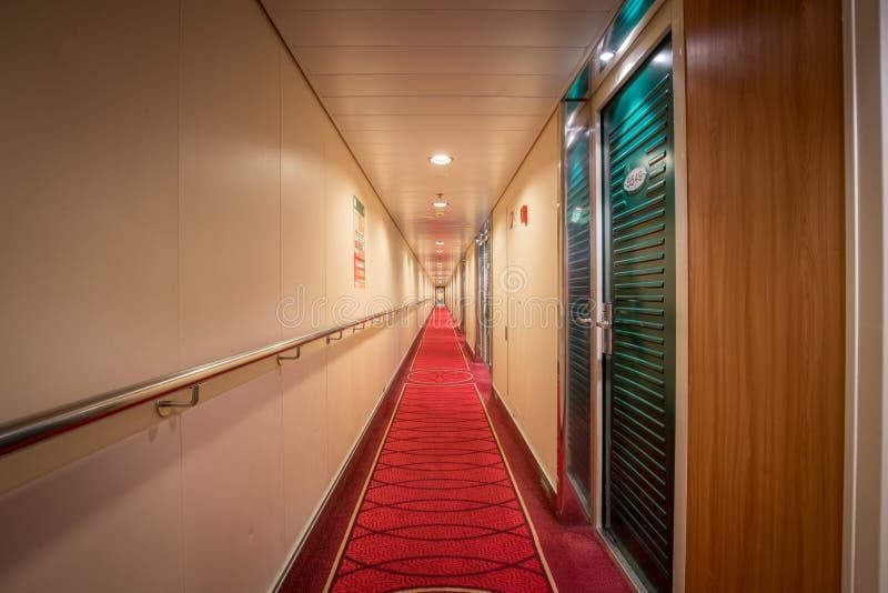 Luxury cruise ship cabin corridor royalty free stock images