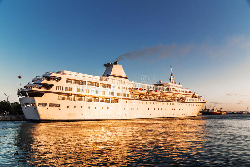 Luxury cruise ship in the port royalty free stock image