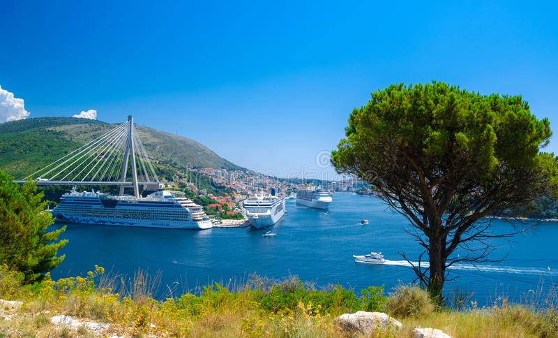 Luxury cruise ships at the port of Dubrovnik, Croatia. stock photos