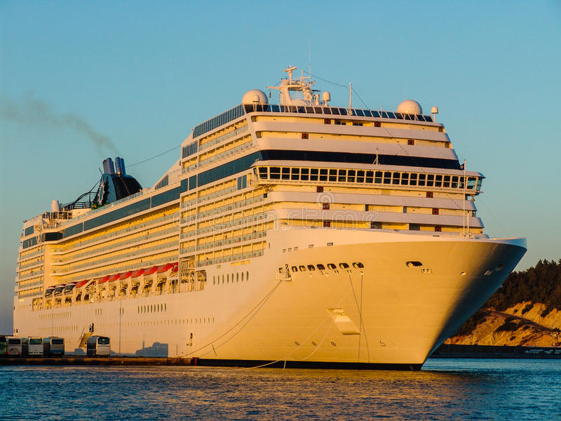 Download Luxury Cruising Ship Ready To Sail Away. Left Angled View Stock Photo - Image: 36376464