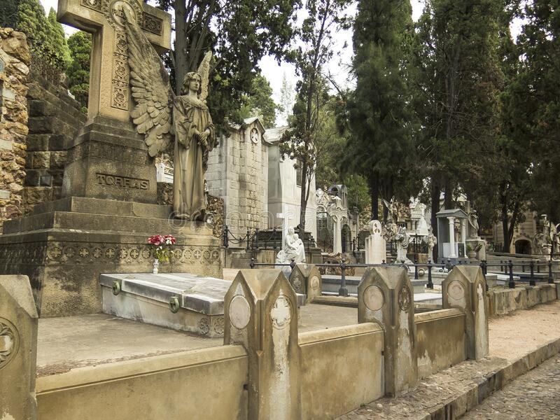 Cemetery in Barcelona. Old tombs royalty free stock photo
