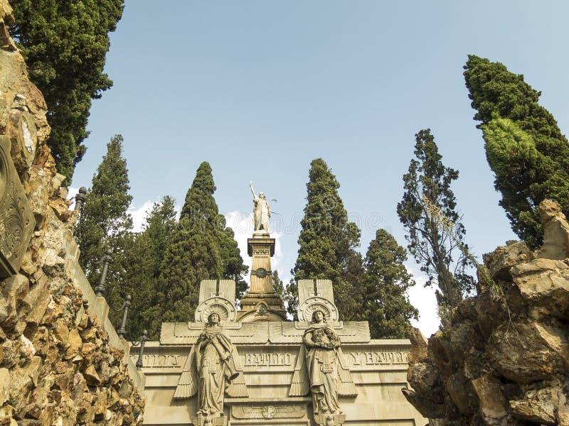 Luxury crypt on Montjuic Cemetery, Barcelona, Spain stock photos