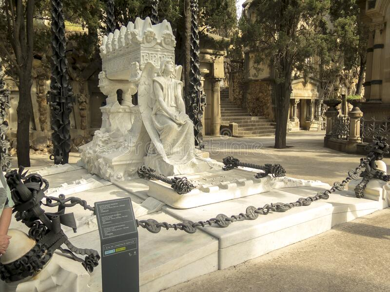 Luxury crypt on Montjuic Cemetery, Barcelona, Spain stock images