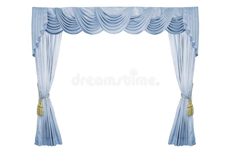 Luxury curtain. Luxury curtain with golden luxury tassels isolated on white stock image