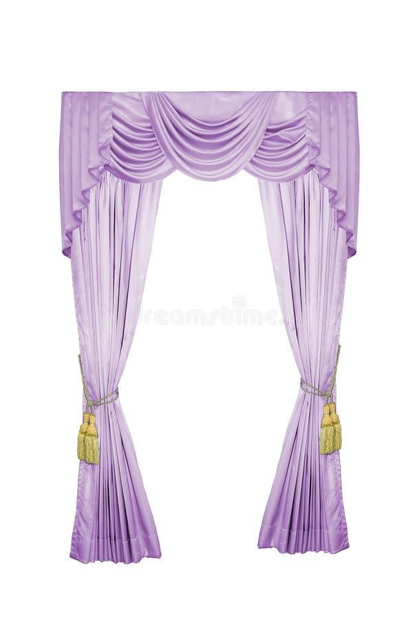 Luxury curtain. Luxury curtain with golden luxury tassels isolated on white royalty free stock photos