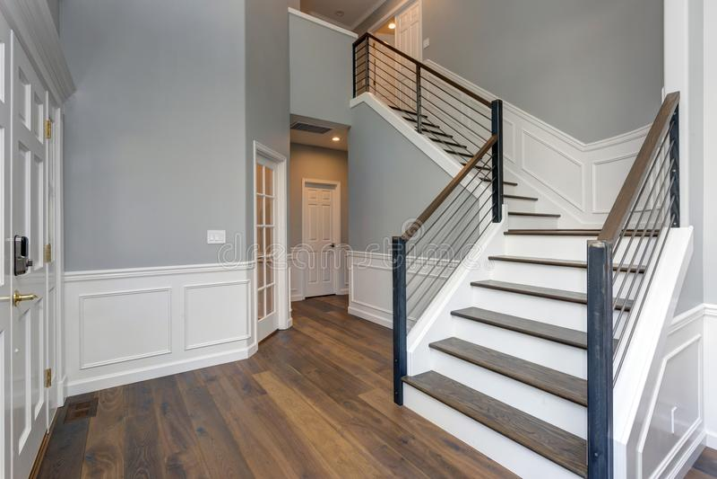 Luxury custom built home interior stock image