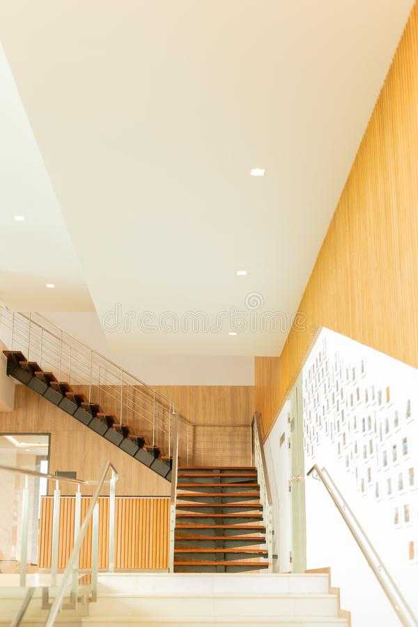 Luxury custom built Interior wooden staircases in modern building. stock images
