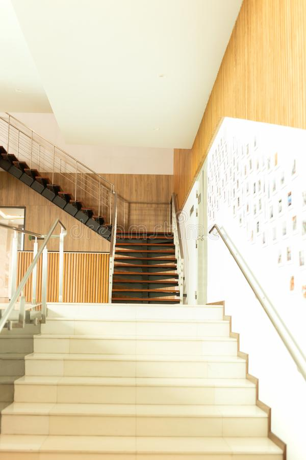 Luxury custom built Interior wooden staircases in modern buildi royalty free stock images