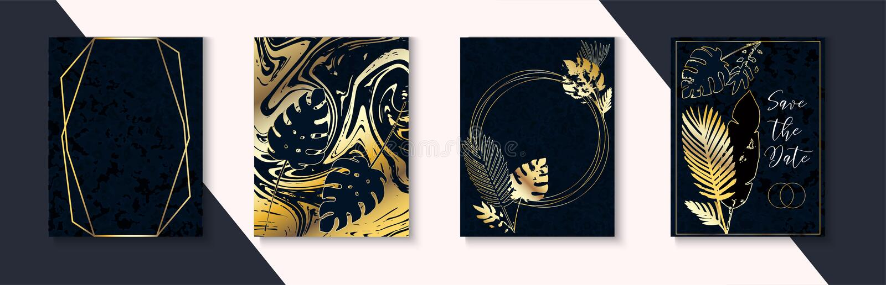 Luxury Dark Wedding Invitations Set. Indigo Dark Blue Frame Layout. Marble Textured Tropical Leaves Vector Simple Package. Luxury Dark Wedding Invitations Set vector illustration