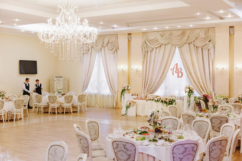 Luxury decorated marriage couple table royalty free stock photos