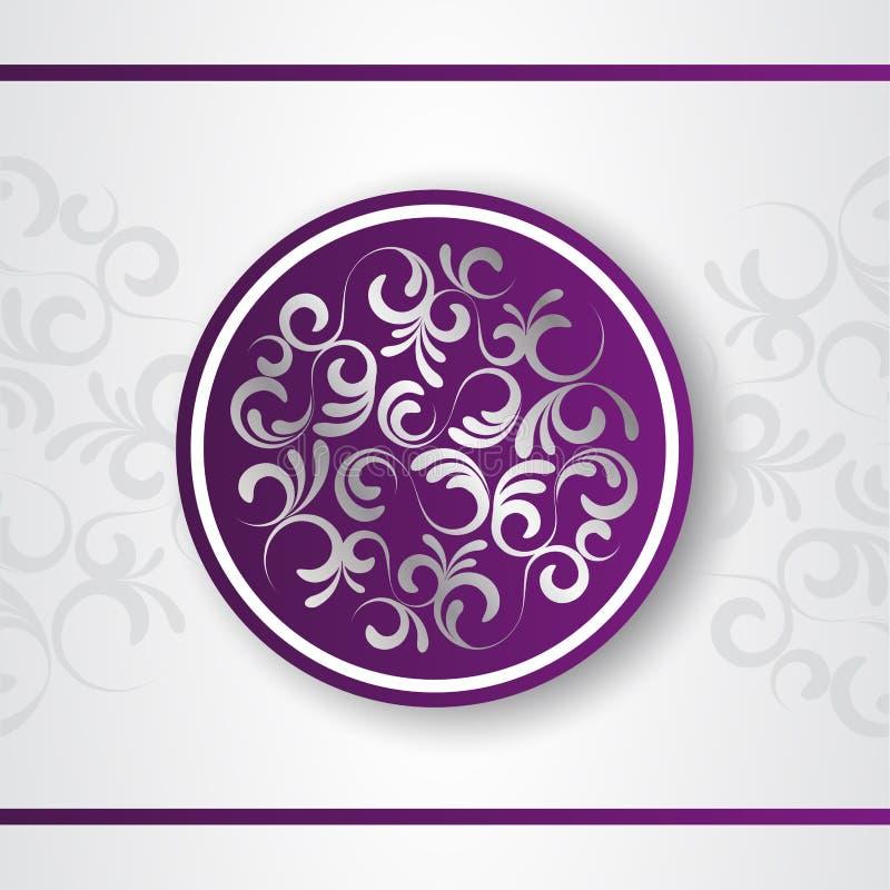 Luxury decorative vector logo template. Purple emblem with silver floral decor. Decorative background. Floral mandala vector illustration