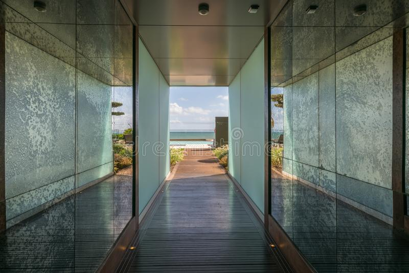 Luxury Designed Underground pathway to the Swimming Pool and Beach stock images