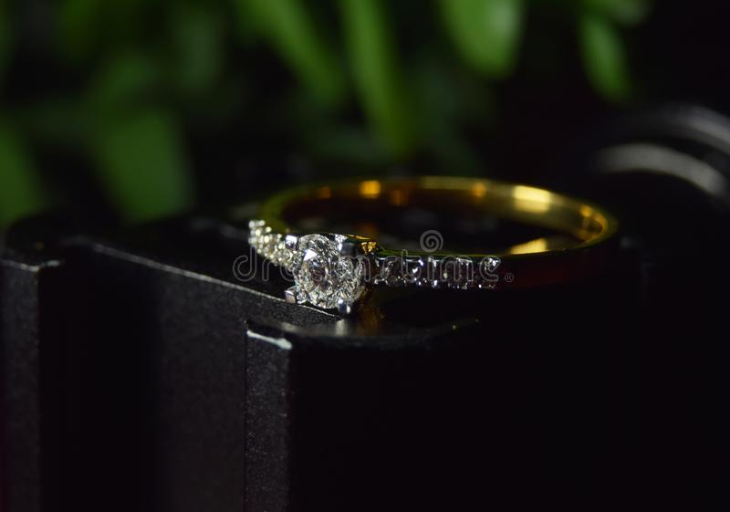 Luxury diamond jewelry and rings Is a wedding ring And is an expensive royalty free stock photos