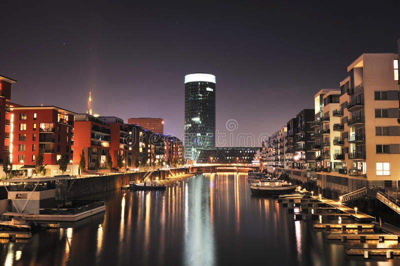 Westhafen skyscraper Tower by night stock images