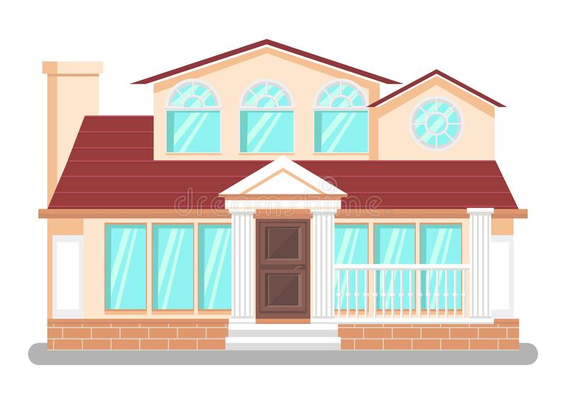 Luxury Dwelling Place Flat Vector Illustration. Detached House, Hand Drawn Villa. Courthouse, Public Library Building. Pillars, Columns Architectural Style vector illustration