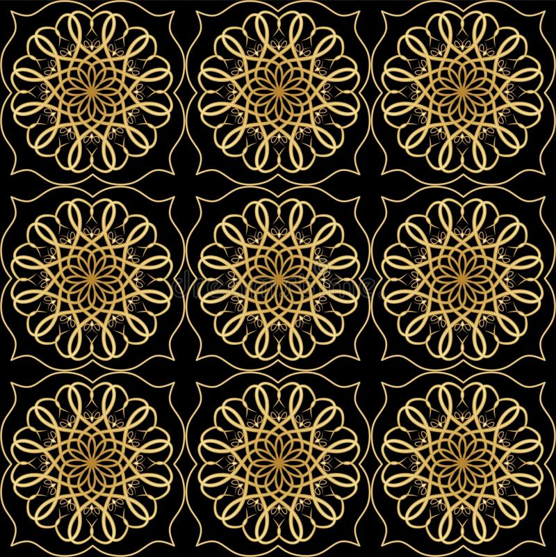Luxury elegant background with golden filigree circular lace patterns on black background, embossed ornament in antiquarian style. Luxury elegant background with vector illustration