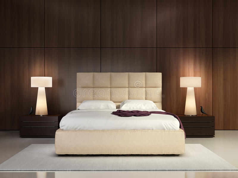 Luxury elegant bedroom. With wood wall royalty free stock images