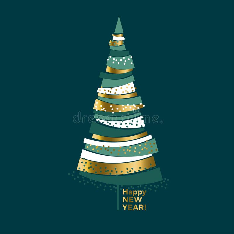 Luxury elegant gold and green Christmas tree. vector illustration