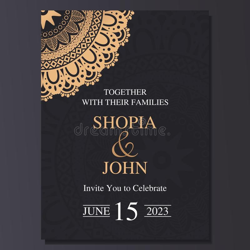 Luxury and elegant wedding invitation card with mandala ornament. Dark and golden color background vector illustration