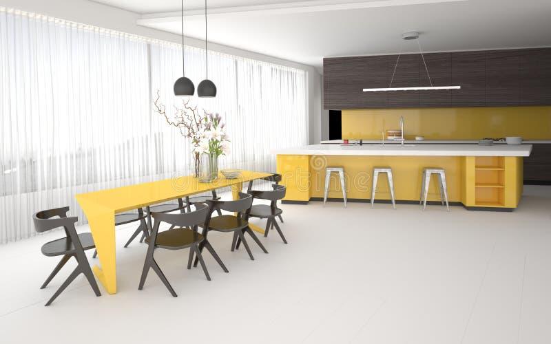 Luxury elegant yellow and grey kitchen interior vector illustration