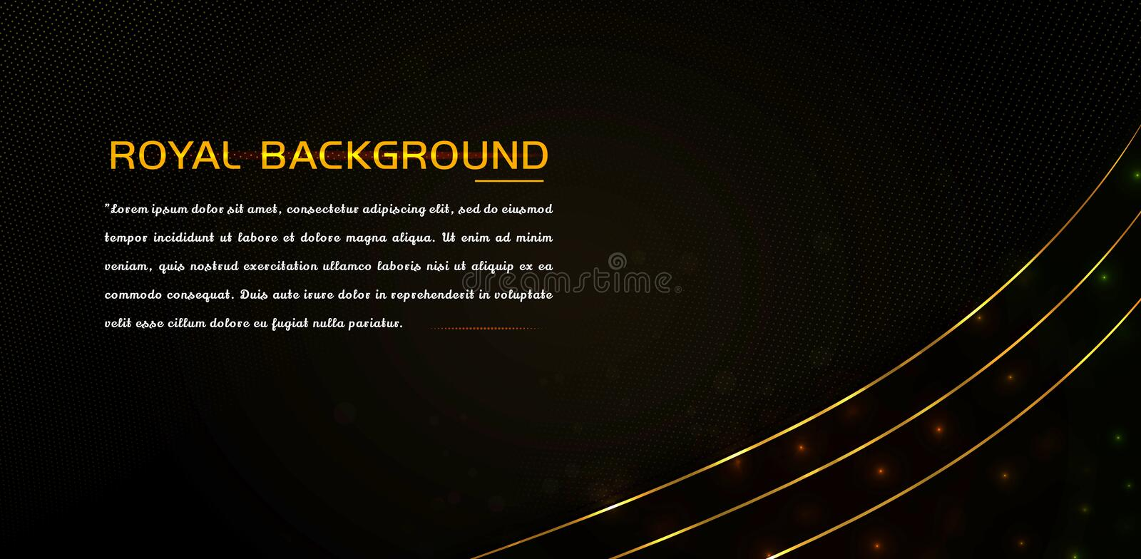 Luxury element with shiny gold effect and glowing lines stock illustration