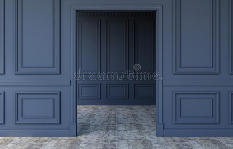 Luxury empty room interior in modern classical design, 3D Rendering stock photography