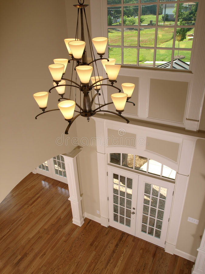 House Foyer Xl : Luxury entrance foyer with hanging light stock image