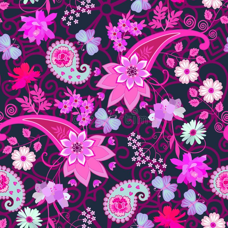 Luxury ethnic seamless pattern with mandala, paisley and beautiful flowers on lace background. Indian, persian, turkish motifs.  royalty free illustration