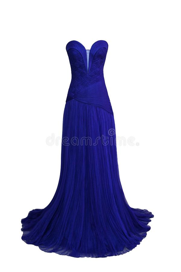 Luxury evening dark blue dress with crystals, sequins and payets stock image