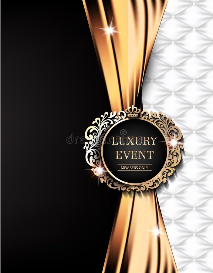 Luxury event elegant card with gold fabric, leather background, vintage frame. stock illustration