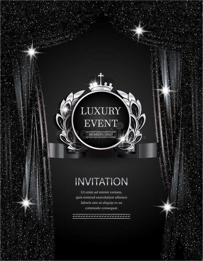Luxury event elegant silver and black background with sparkling theater curtains. stock illustration