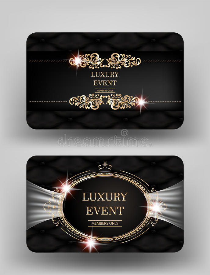 Free Luxury Event Invitation Gold Cards With Leather Background And Vintage Frames. Stock Photo - 85591580