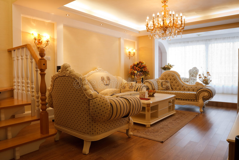 Luxury Expensive Living Room Interior Stock Image - Image of floor ...