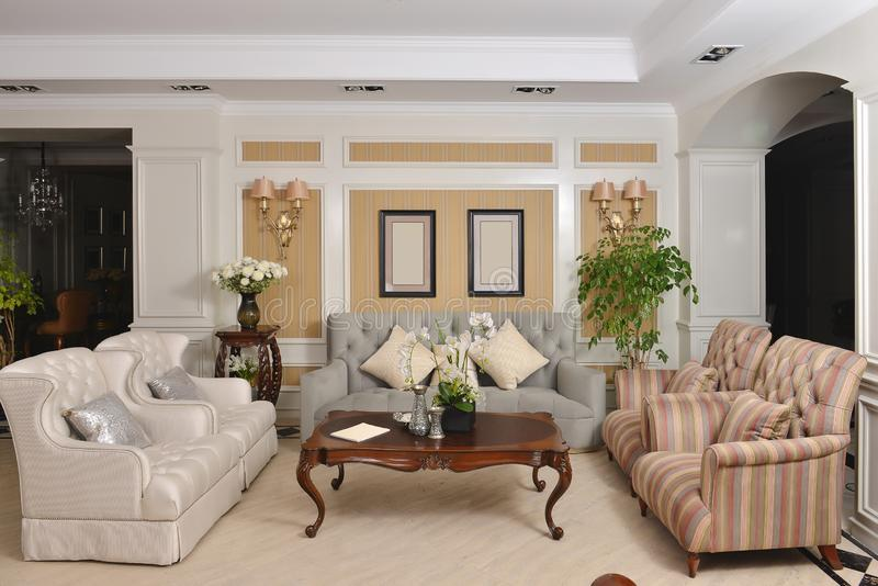 living room with luxury cloth sofa home appliance stock image