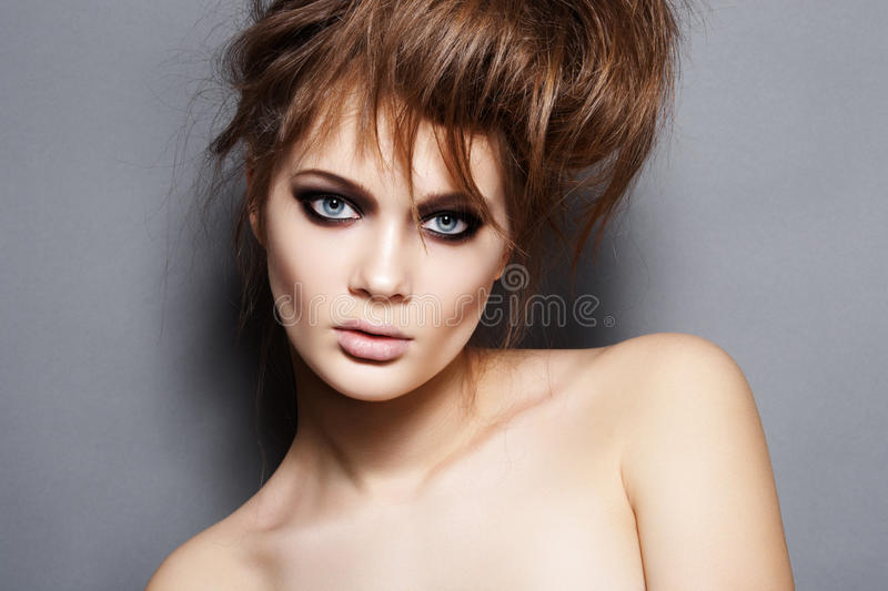 Download Luxury Fashion Woman With Tousled Hair And Make-up Stock Image - Image: 18989053